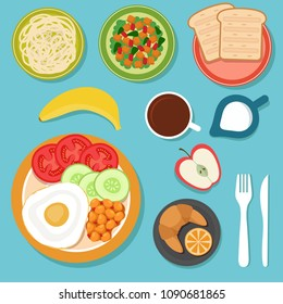 Breakfast eating food and drinks on table top view vector illustration. Menu of morning, coffee and lunch of set
