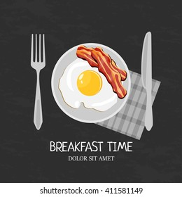 Breakfast egg with bacon isolated plate illustration