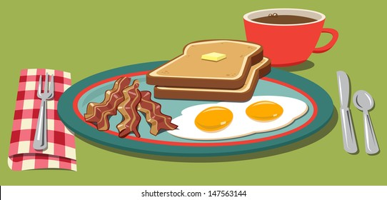 Breakfast with eggs, bacon, toast and coffee