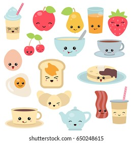 Breakfast Food And Beverages Cute Vector Icons Set Cartoon Characters