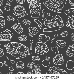 Breakfast. Food and drink. Coffee and tea. Bakery products. Fruits. Seamless vector pattern (background, print).