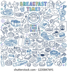 Breakfast food and drinks doodle set. Hand drawn vector illustration isolated on white background.