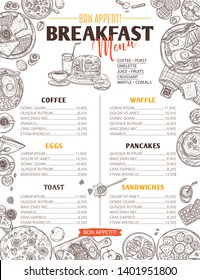 Breakfast food sketch menu. Design template and layout with doodle hand drawn vector illustration