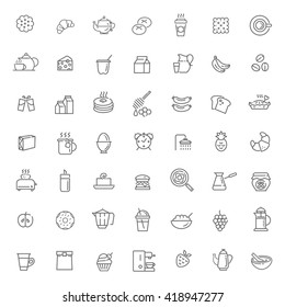 Breakfast food vector outline icons set. Cooking