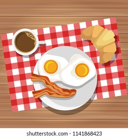 Breakfast of fried eggs and bacon with coffee and butter roll. Vector illustration. Eating on a plate is a top view. Served breakfast.
