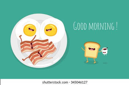 Breakfast. Fried eggs with bacon on a plate. Vector Illustration