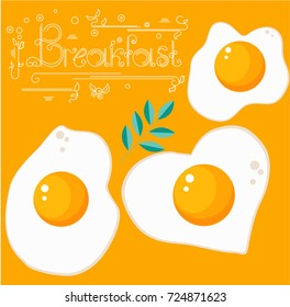 Breakfast fried eggs on a yellow background with different shapes vector