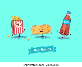 Breakfast. Funny characters  camera, ticket, and glasses. Best friends set. Vector illustration