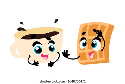 Breakfast. Funny characters coffee and wafle. Set of funny breakfast characters with face and hands. Vector illustration in cartoon style