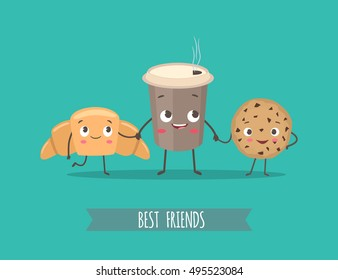 Breakfast. Funny characters croissant, cookies with chocolate and cup of coffee. Best friends set