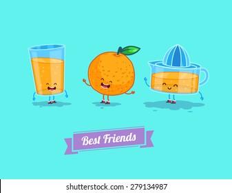 Breakfast. Funny characters orange, juice, glass. Best friends set. Vector illustration