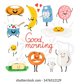 Breakfast funny food. Delicious menu friends with smiles, coffee cup character, cartoon egg and tasty pretzel, cute milk and yogurt for kids invitation