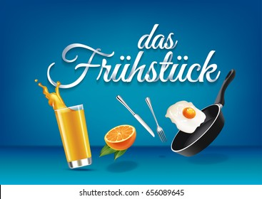 """Breakfast"" in german language, paper hand lettering calligraphy. Vector realistic illustration with food, drink objects and text."