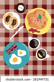 Breakfast. Breakfast at home. Vector illustration Wholesome breakfast. Scrambled eggs with bacon, toast with chocolate spread, tea and coffee, pancakes with berry jam on a red checkered tablecloth