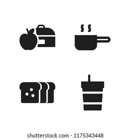 breakfast icon. 4 breakfast vector icons set. toast, lunchbox and pan icons for web and design about breakfast theme