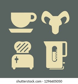 breakfast icon set with capricorn, cup and toster vector illustration