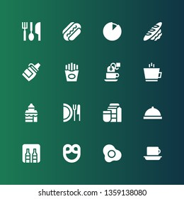 breakfast icon set. Collection of 16 filled breakfast icons included Coffee, Egg, Pretzel, Minibar, Room service, Milk, Dish, Bakery shop, Tea, Fries, Sauce, Bread, Cheese, Sausage