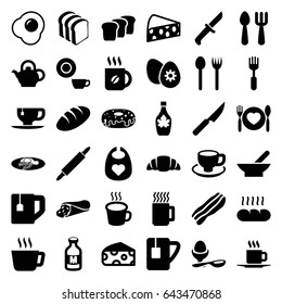 Breakfast icons set. set of 36 breakfast filled icons such as bowl, cheese, bread, baby bid, fork and spoon, dish, coffee, wrap sandwich, donut, tea cup, maple syrup