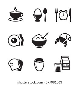 breakfast icons set. Black on a white background