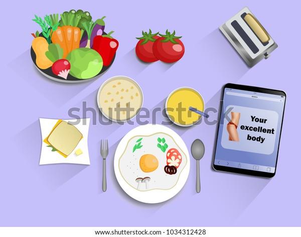 Breakfast Lunch Dinner Fromeggs Juice Sandwich Stock Vector Royalty Free 1034312428
