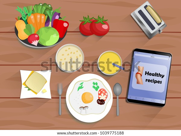 Breakfast Lunch Dinner Fromeggs Juice Sandwich Stock Vector