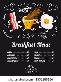 Breakfast menu placemat food restaurant brochure, template design. Flat illustration concept. Fanny dinner flyer with hand-drawn graphic for children's menu. cartoon characters coffee cup, bacon, egg