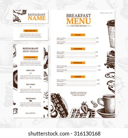 Breakfast menu template. Cafe or restaurant identity. Vector vintage  illustration