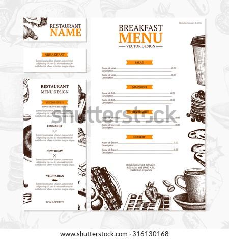 Breakfast menu template cafe restaurant identity stock vector breakfast menu template cafe or restaurant identity vector vintage illustration maxwellsz