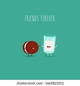 Breakfast, milk and cookies. Friends forever. Vector illustration. Use for card, poster, stickers, web design and print on t-shirt. Easy to edit.