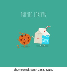 Breakfast, milk and cookies, vector cartoons of comic characters bottle. Vector illustration. Friends forever. Use for card, poster, banner, web design and print on t-shirt. Easy to edit.