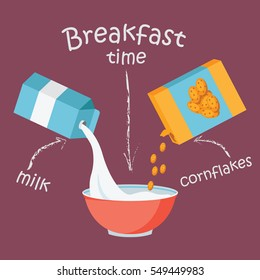 Breakfast with milk and cornflakes vector illustration isolated on pink background