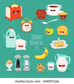 Breakfast, milk, tea, banana, eggs, apple, toaster, funny breakfast set. Comic characters. Vector illustrations. Use in the menu, in the shop, in the bar, the card or stickers.