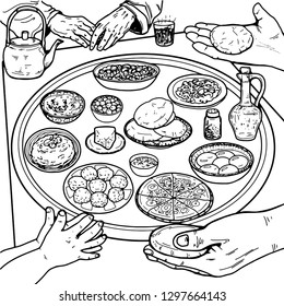 Breakfast. On the table are traditional Jordanian dishes. The hands of a child, the hands of an adult, the hands of an old man. Coloring pages.