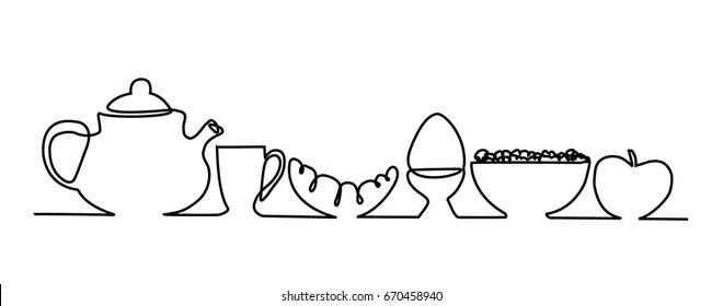 Breakfast. One line drawing