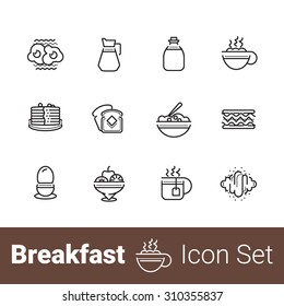 Breakfast outline icon set of 12 icons