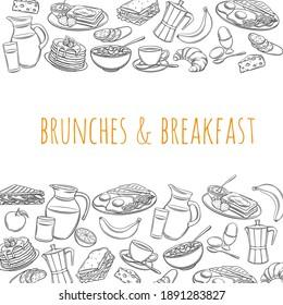 Frühstücksseite Vorlage Lebensmittel Design Vektor. Outline handgezeichnet Jug aus Milch, Kaffeekanne, Tasse, Obst und Gemüse. Backwaren, Orangensaft, Sandwich und frittierte Eier. Pfannkuchen und Toast mit Marmelade.