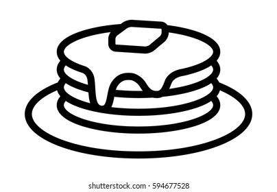 Breakfast pancakes with syrup and butter on a plate line art vector icon for food apps and websites