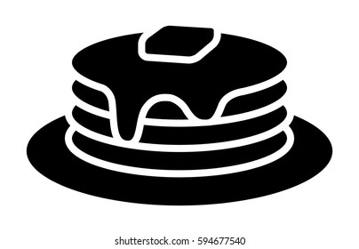 Breakfast pancakes with syrup and butter on a plate flat vector icon for food apps and websites