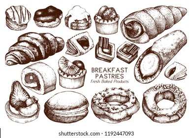 Breakfast Pastries and Brownies collecion. Hand drawn baked products on white background. Vintage food sketches for cafe or bakery menu design.