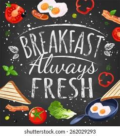Breakfast poster chalkboard. Fried eggs, sausage on pan, ingredients for breakfast. Vector illustration