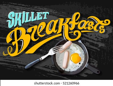 Breakfast Poster. Fried eggs and sausage on pan. Vector illustration. Always fresh