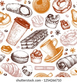 Breakfast seamless pattern. Hand drawn coffee and pastries illustrations. Fast food sketches in engraved style.  Vector cafe or bakery design. Vintage hot drinks and desserts background.