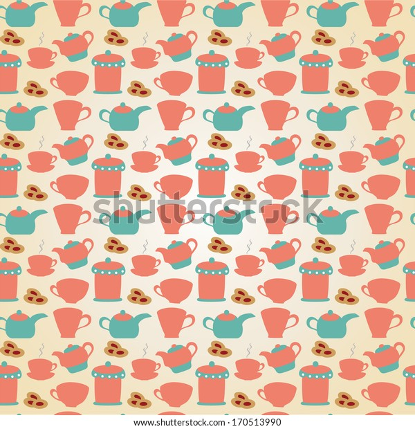 Breakfast seamless pattern with tea pots, cups and cakes. Hand drawn vector illustration.