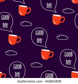 Breakfast seamless pattern. Vector illustration with text clouds and cups of coffee