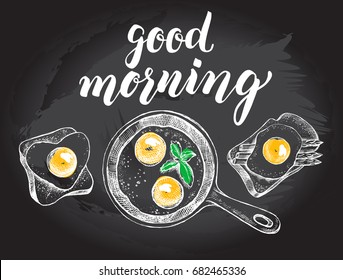 Breakfast set. Fried eggs in a frying pan, toasts with fried egg and asparagus. Food elements collection. Vector illustration. Menu, signboard template with modern brush calligraphy style lettering.