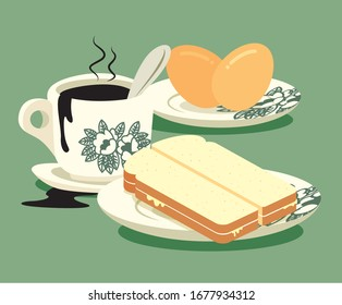 Breakfast set. Traditional oriental style coffee, half boiled eggs and kaya butter toast set .Vintage Nanyang style coffee cup and plate. Translation: Coconut jam- flat art vector