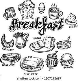 breakfast, sketch doodle