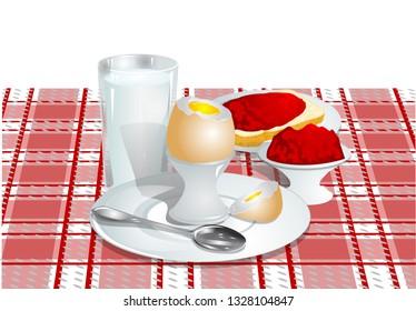 breakfast. soft-boiled egg, milk and a sandwich