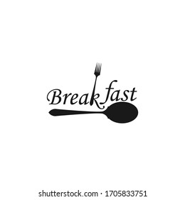 Breakfast with spoon fork hipster vintage retro typography logo design