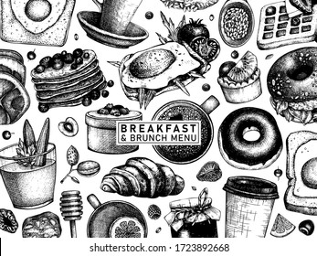 Breakfast table banner. Morning food and hot drinks menu vector template. Breakfast and brunch dishes background. Vintage hand drawn food sketches. Engraved style breakfast top view design.